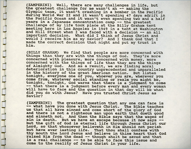 Shown above is an excerpt (of the original transcript) from Zamperini: Still Carrying the Torch.