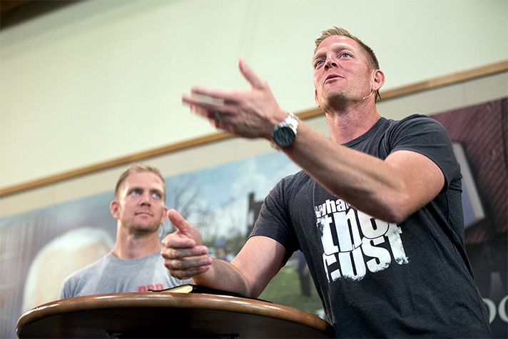 Light overtakes darkness, David Benham said, encouraging the men to shine bright for Christ. David and his twin brother, Jason, live outside Charlotte, North Carolina, not far from where Billy Graham grew up, and said they have been inspired by Mr. Graham's boldness in sharing the Gospel.
